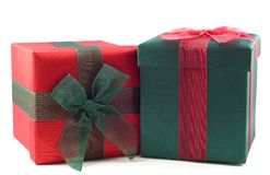 Red and Green Wrapped Gift Boxes Royalty Free Stock Photography