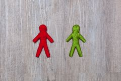Red and green yarn human figure royalty free stock photography