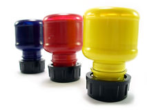 Red green yellow. Bottles upside down Royalty Free Stock Images