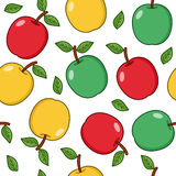 Red Green Yellow Apple Seamless Pattern. A seamless pattern with red, green and yellow apples, isolated on white background. Useful also as design element for Royalty Free Stock Photos
