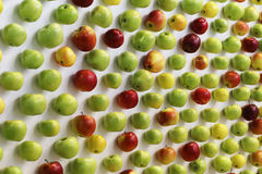 Red, green and yellow apples  on white desk Royalty Free Stock Photography