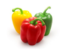Red, green and yellow bell pepper  on white background Royalty Free Stock Photography