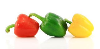Red,green and yellow bell peppers Stock Photo