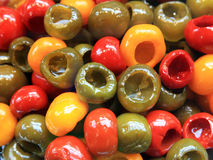 Red, Green and Yellow Bell Peppers Royalty Free Stock Photography