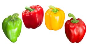 Red green yellow bell peppers, paths Royalty Free Stock Image