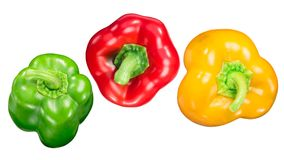 Red green yellow bell peppers, paths, top Royalty Free Stock Images