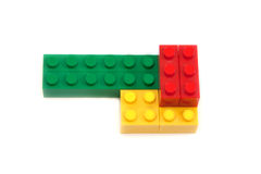 Red, green, yellow block of the designer. Isolated on white background stock images