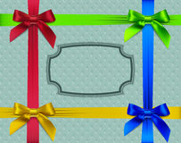 Red, green, yellow and blue bow on a retro backgro. Und, vector illustration Stock Images