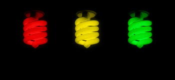Red green yellow CFL Bulb Stock Photos