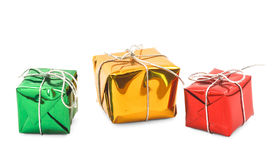 Red green yellow christmas gift boxes  Royalty Free Stock Image