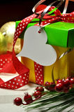 Red, Green and Yellow Christmas Present Closeup Royalty Free Stock Image