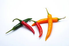 Red green yellow color chilli pepper isolated on white background Stock Photos