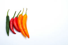 Red green yellow color chilli pepper isolated on white background Stock Photography
