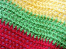 Red, green and yellow colors crochet Royalty Free Stock Image