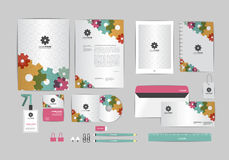 Red, green and yellow with gear corporate identity template for your business Royalty Free Stock Photography