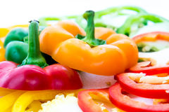 Red, green, yellow, orange bell pepper slices Royalty Free Stock Photography