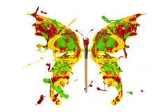 Red green yellow paint splash made butterfly Royalty Free Stock Photo