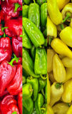 Red green and yellow paprika background Stock Images