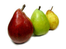 Red Green and Yellow Pears. Three different color pears in a row royalty free stock image