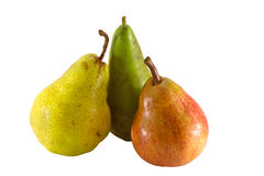 Red green and yellow pears isolated on white Royalty Free Stock Images