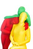 Red, green and yellow people Stock Images