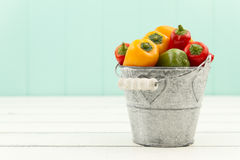 Red, green and yellow peppers on a bucket Stock Photography