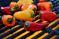 Red,green,yellow peppers on a grill Stock Photography