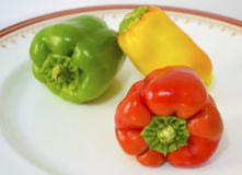 Red green and yellow peppers Royalty Free Stock Photography