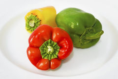 Red green and yellow peppers Royalty Free Stock Photos