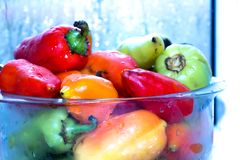 Red , green and yellow peppers in a transparent bowl. Nice podaydet for your meals Stock Image
