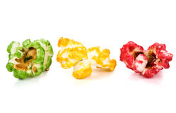 Red, green, yellow popcorn Stock Image