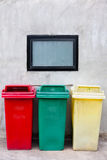 Red green and yellow recycle bin. With detail Stock Image