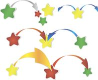 Red, green and yellow star shapes over white Royalty Free Stock Photography