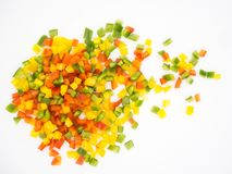 Red, green and yellow sweet bell peppers stock photography