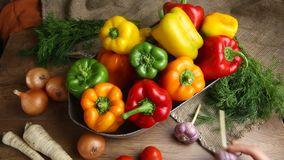 Red, green and yellow sweet bell peppers on table, stock video