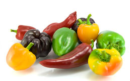 Red, green and yellow sweet pepper Royalty Free Stock Photos