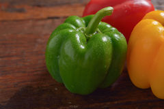 Red Green and Yellow sweet pepper Royalty Free Stock Images