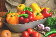 Red, green and yellow sweet bell peppers on table, Royalty Free Stock Photography