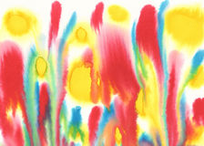Red green yellow watercolor background. Abstract watercolor painted background. Bright red, green, yellow colors used, childish look, fire Royalty Free Stock Photography