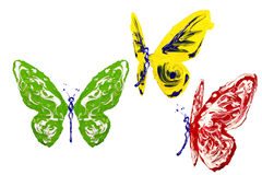 Red green yellow white paint made butterfly set. Three positions Stock Image