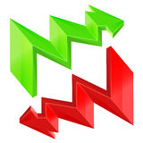 Red green zigzag arrow isolated design Royalty Free Stock Images