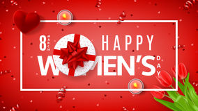 Red greeting banner for Women`s Day Royalty Free Stock Photography