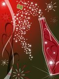 Red greeting card. Greeting card 2009 with red background and champagne Royalty Free Stock Photos