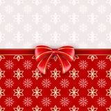 Red greeting card with bow. Vector illustration Stock Images