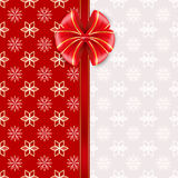 Red greeting card with bow. Vector illustration Royalty Free Stock Images