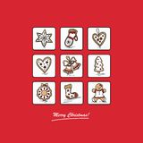 Red greeting card with Christmas gingerbreads. Christmas card with Christmas gingerbreads . Vector illustration Stock Photos