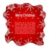 Red greeting card with Christmas. Red greeting card with Merry Christmas with snowflakes at the edges Royalty Free Stock Photo