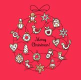 Red greeting card with Christmas wreath Royalty Free Stock Image