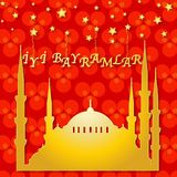 Red greeting card with mosque Stock Photos