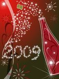 Red greeting card for new year 2009. Greeting card 2009 with red background and champagne royalty free illustration
